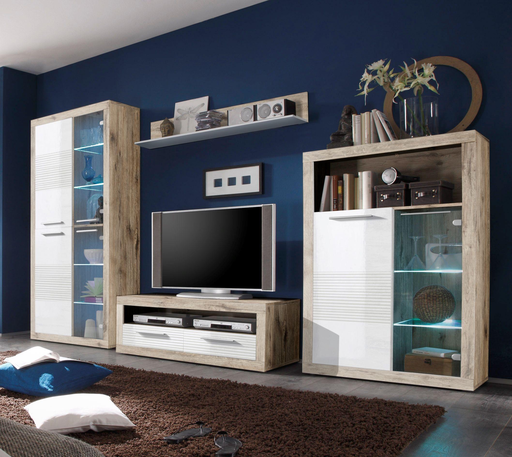 Wohnwand Weiss Hochglanz/ Sandeiche Mit Beleuchtung Woody 61 00114 Holz  Modern Jetzt Bestellen Unter Awesome Design