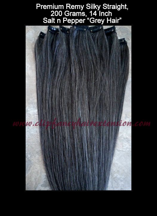 Grey Hair Extensions Clip In Set Salt N Pepper Coloring The