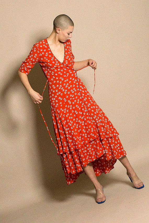Ganni Big Apple Red Silvery Crepe Dress Bona Drag