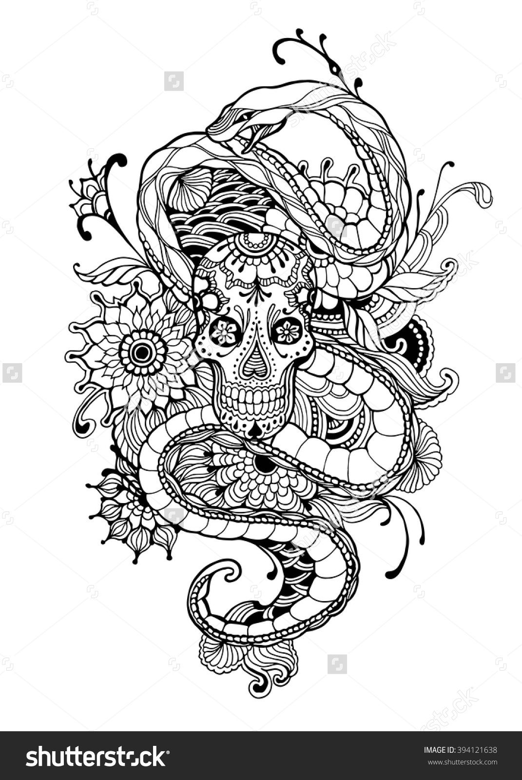 Skull And Snake Adult Coloring Page Vector Illustration
