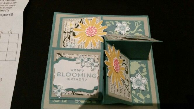 3d shoebox 4 easel blooming birthday card