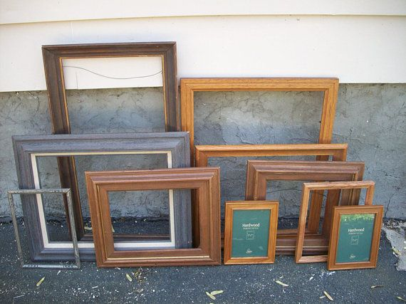 Rustic Wooden Frame Set Of 10 Large Wood Vintage Frames 16 X 20 Wedding Decor Brown Earthtones Open Gallery Shabby Cottage Decor Frame Set Vintage Frames