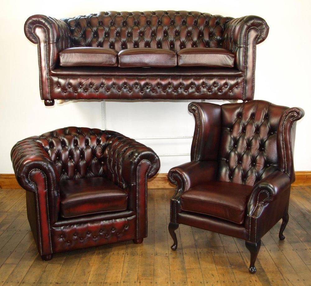 Chesterfield Leather Suite Brand New Oxblood Ebay Rustic Leather Sofa Leather Sofa Living Room Modern Furniture Living Room