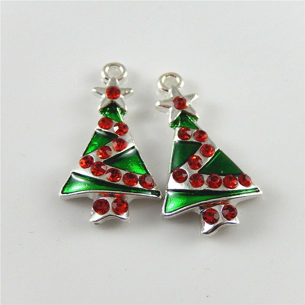 5 pcs colorful christmas tree shaped charm pendant enamel