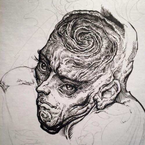 Morning dysmorphia. Ink warmups on paper, keep the pen…... #N_C_Winters #Arsetculture #Tumblr_Curator