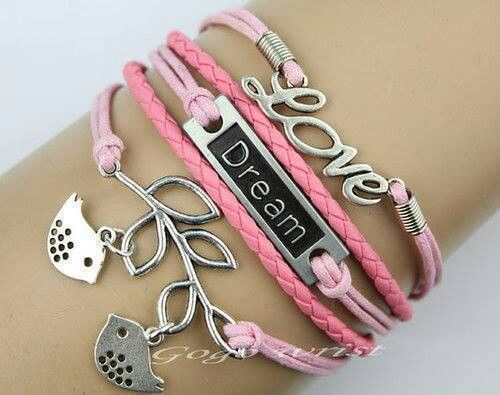Cool pink leather bracelets ,love,sparrow couple bird ,only $5.99 shop at cost21.com