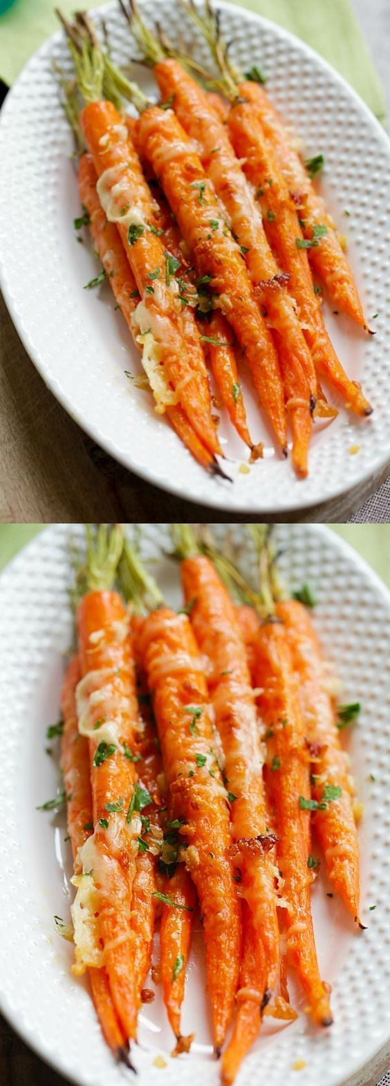 Garlic Parmesan Roasted Carrots - Oven roasted carrots with butter, garlic and Parmesan cheese. The easiest and most delicious side dish ever   http://rasamalaysia.com