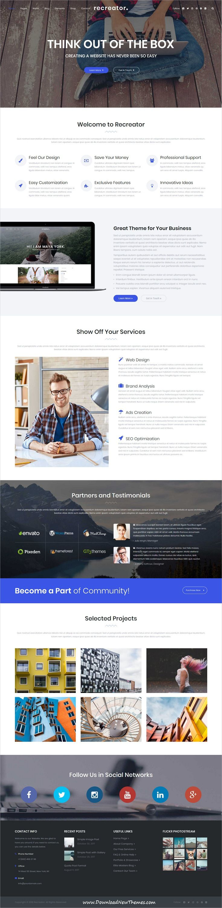 Recreator - Creative Multi Purpose WordPress Theme | Wordpress ...