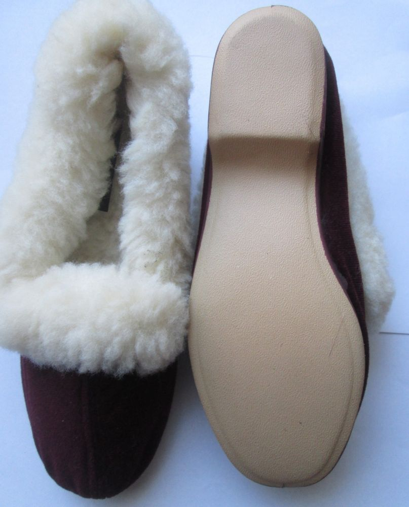 dd66b3725226f VINTAGE FULL FUR COLLAR SLIPPERS SIZE 3 NEW MADE IN SPAIN CHRISTMAS ...