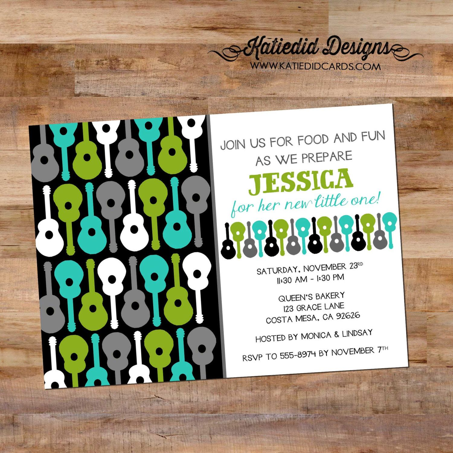 baby boy shower invitation groovy guitar rockstar pattern retirement twins diaper couples birthday bash (item 1298) shabby chic invitations by katiedidesigns on Etsy https://www.etsy.com/listing/167686895/baby-boy-shower-invitation-groovy-guitar