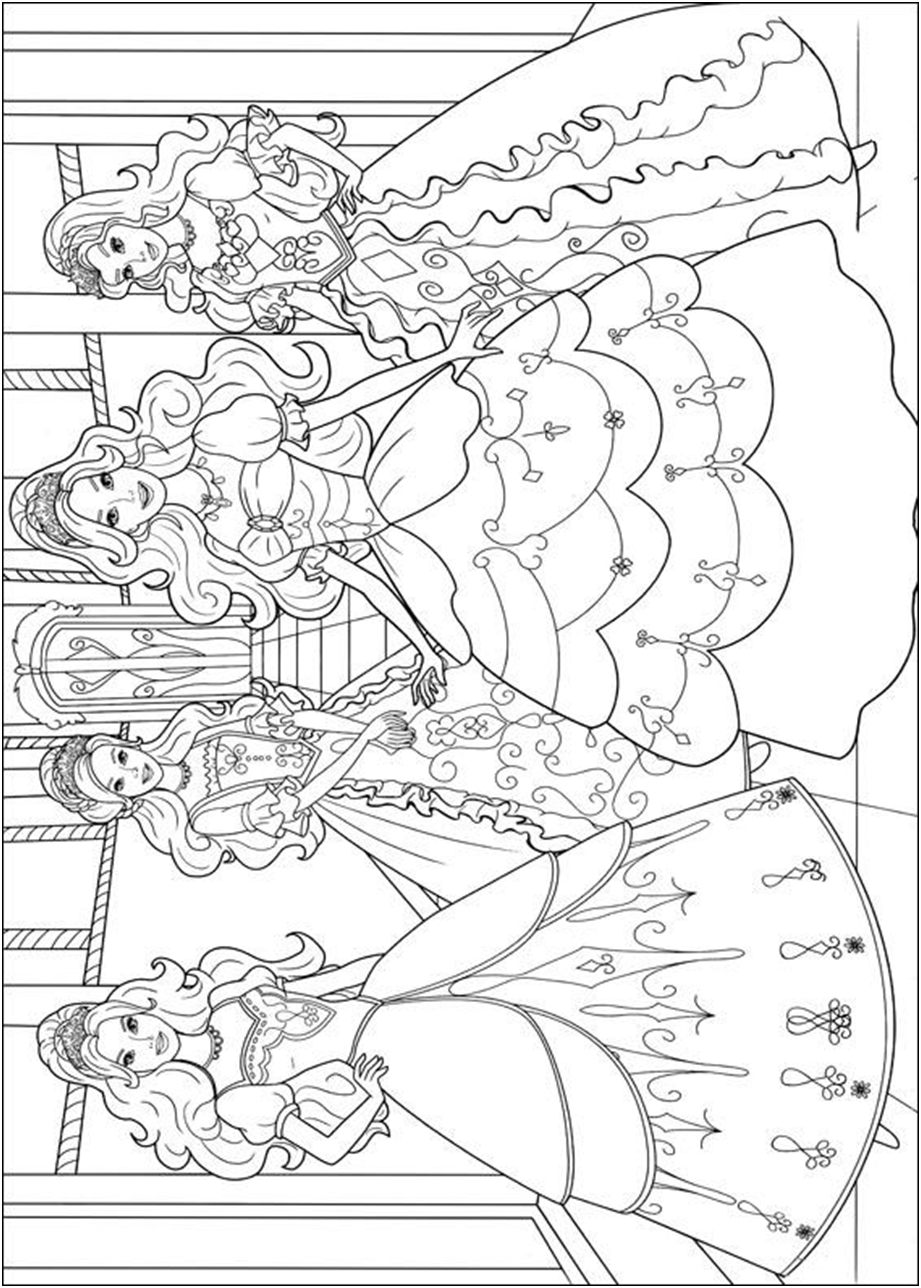 Barbie Three Musketeers Coloring Page Coloring Pages And