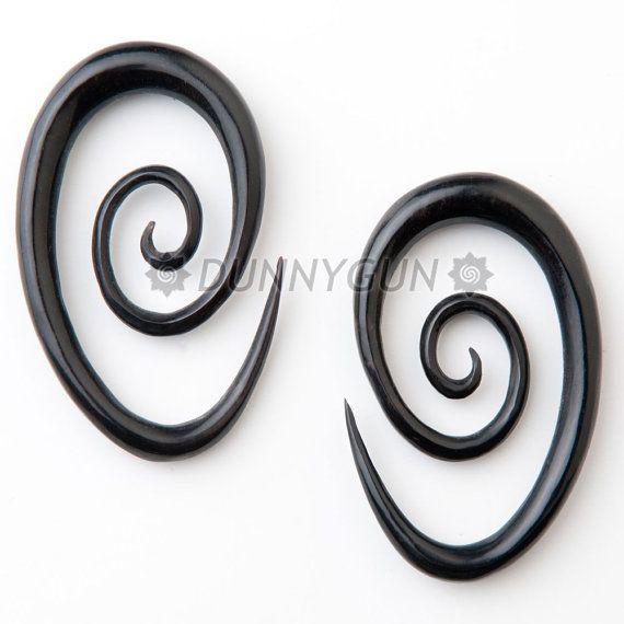 0G Pair Horn Oval Spirals Gauged Plugs Wood Body by Dunnygun, $22 99