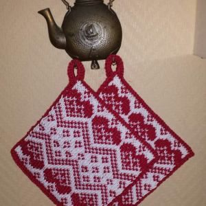 8125b311 Grytekluter med hjerter | Dishcloths to make | Hekling, Strikking og ...