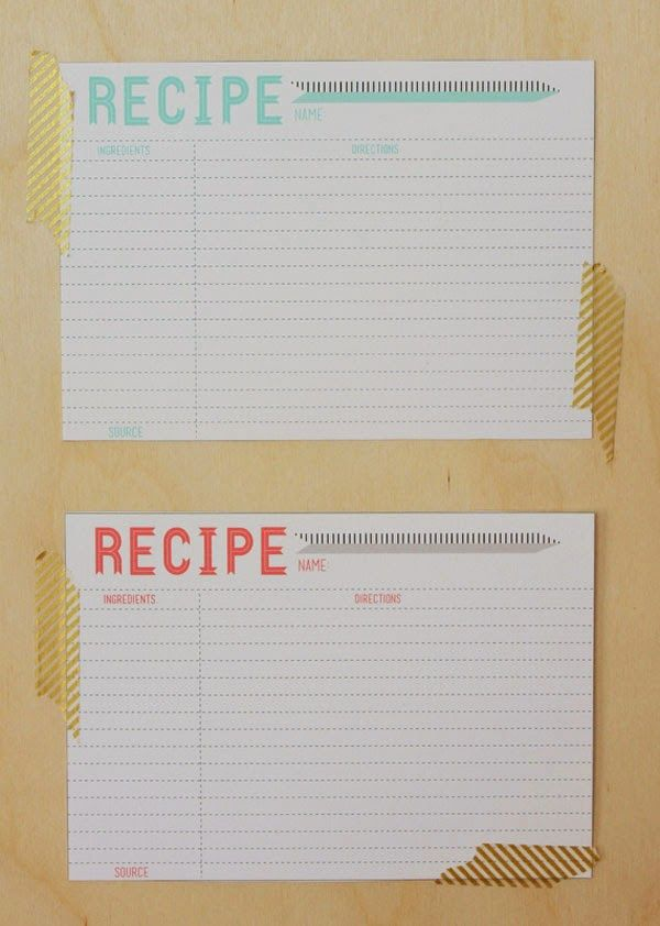 Free Printable 5X7 Recipe Card Template Canning Pinterest