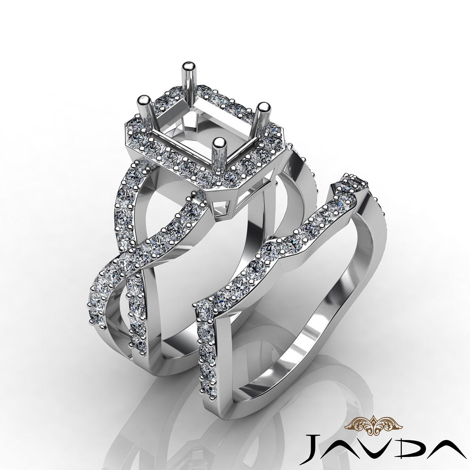 14k Gold White Emerald Diamond Engagement Ring Bridal Sets Pave
