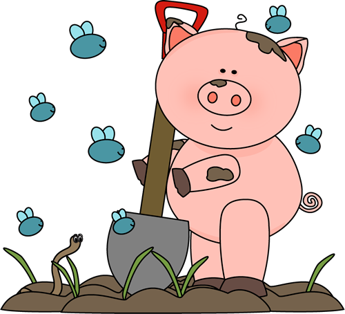 Cute Earthworm Pig Pig With Flies And A Worm Clip Art Muddy Pig With Flies And A Worm Pig Images Muddy Pigs Pig Pictures