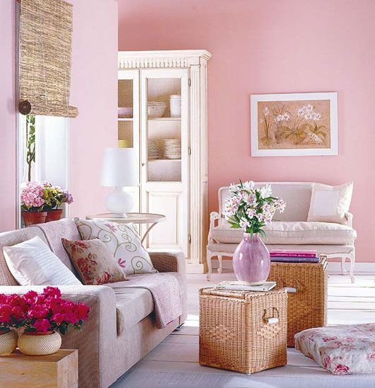 Pink Comfortable Living Room Design With Flower Theme Listed In: Decorating  With Pink Walls Pink Dining Room Subject And Then Pink Living Room Curtains  ... Part 97