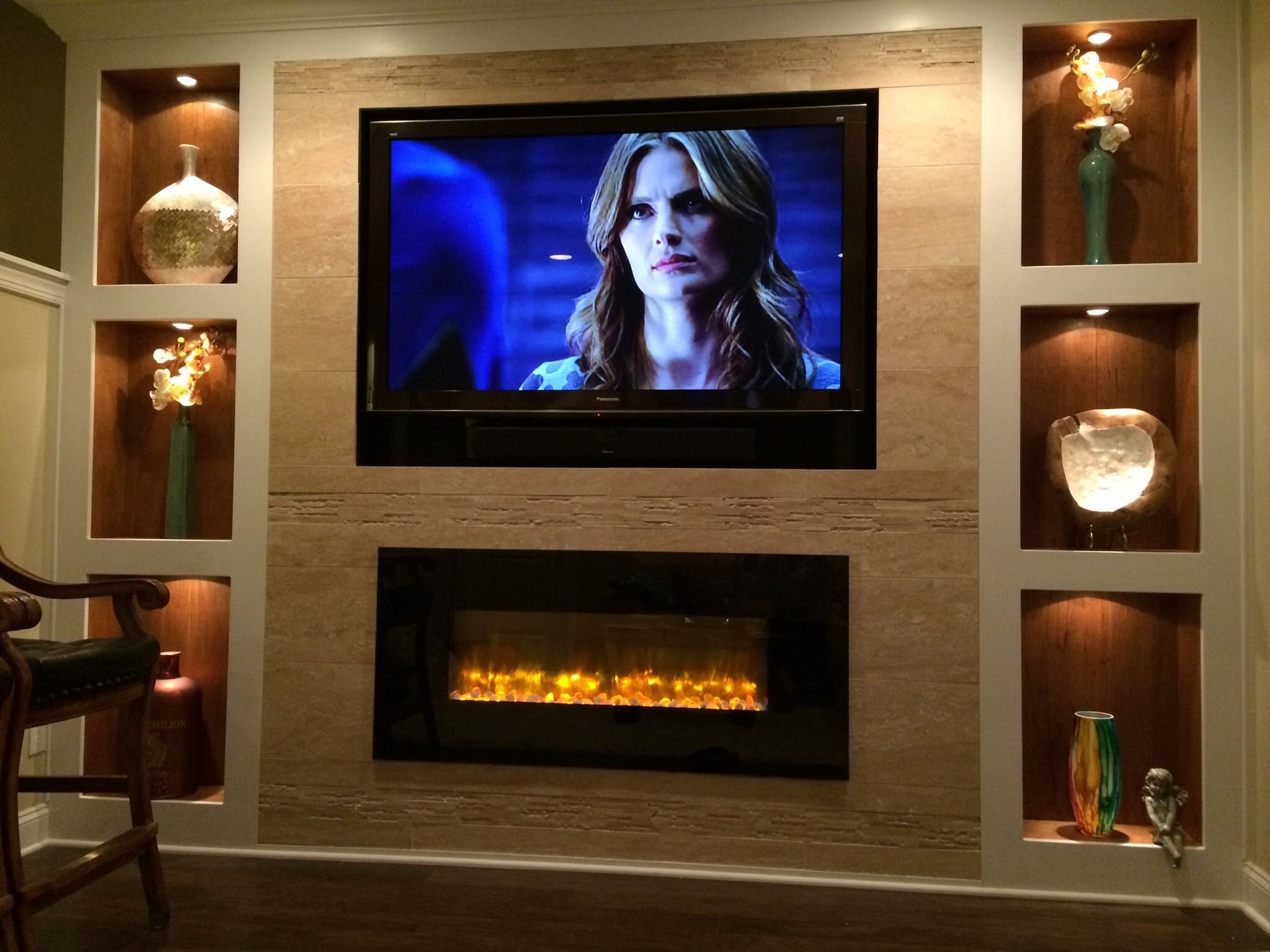 touchstone the sidelinea 60 recessed electric fireplace 80011