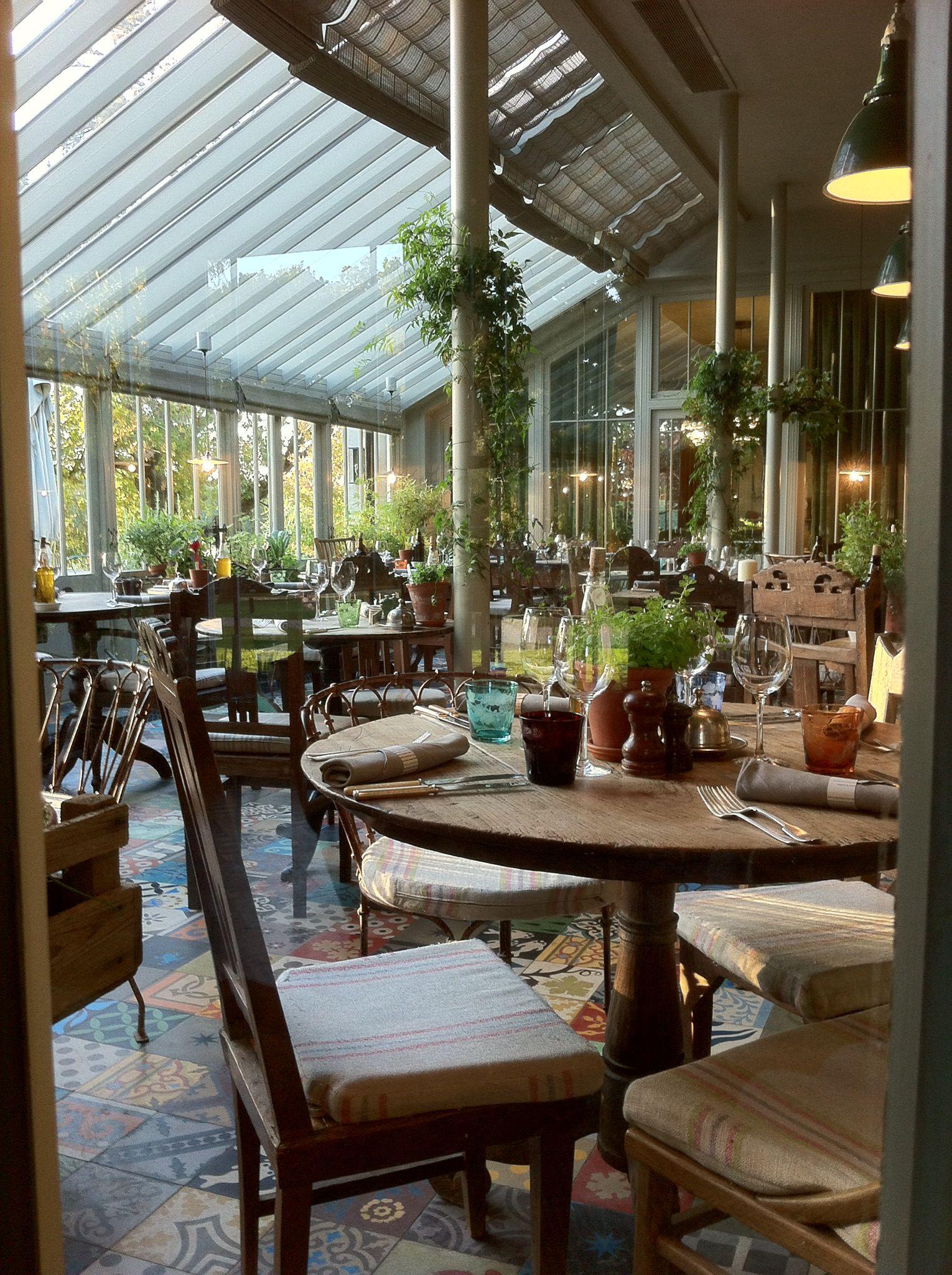beautiful restaurant in the summer or winter wonderful light