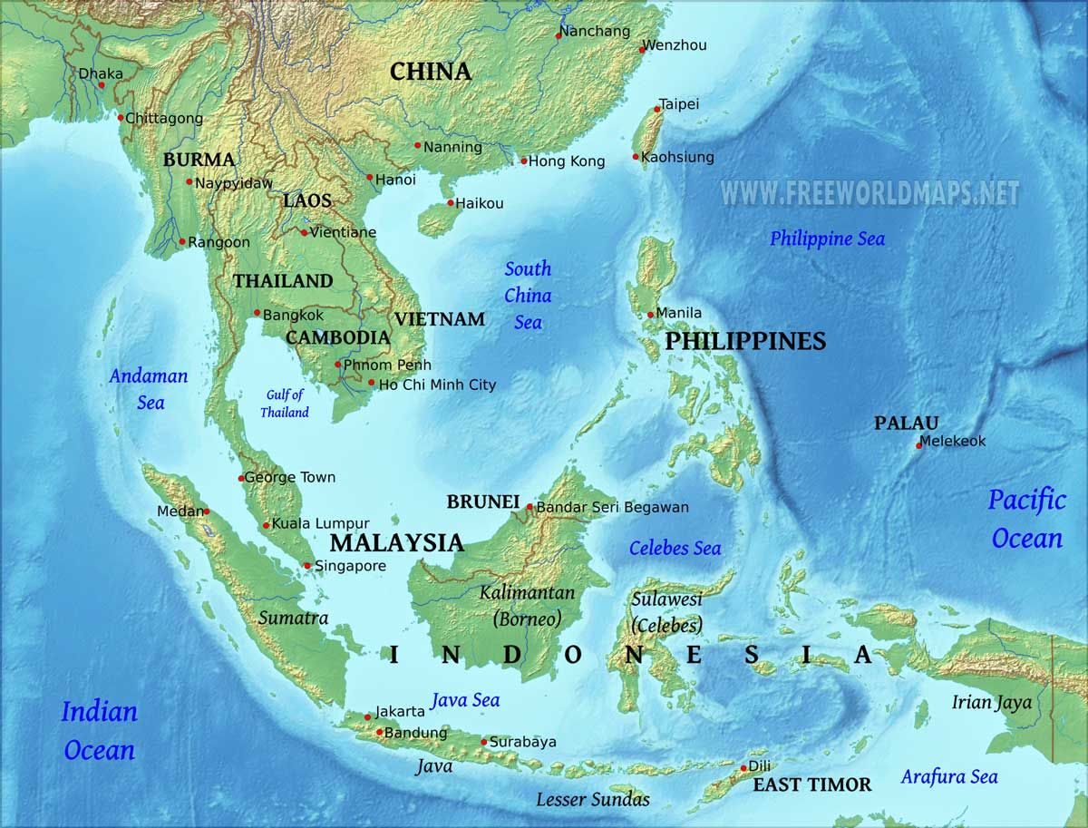 Southeast Asia Physical Map Best Of Geography