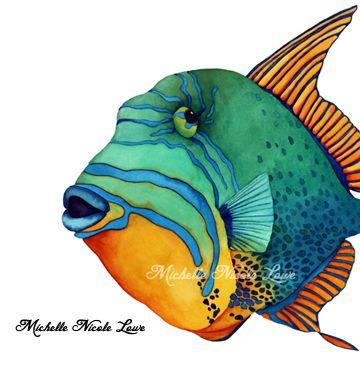 Fish Face Queen Triggerfish En 2020 Peintures De Poissons Art