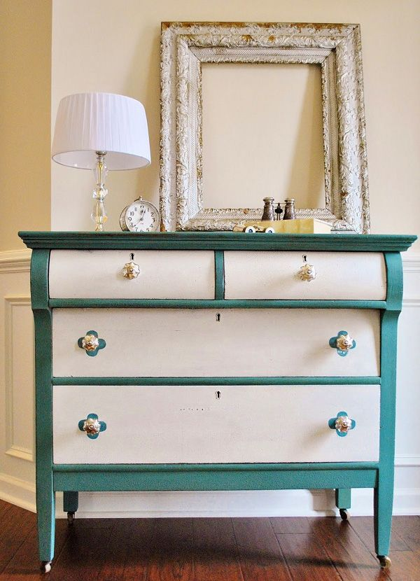 The Innovative and Resourceful DIY Dressers: Turquoise And White Dresser DIY ~ latricedesigns.com Creative Furniture Inspiration