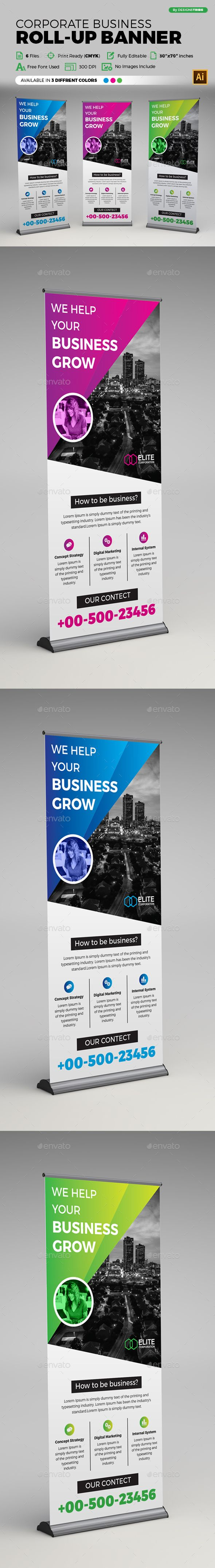 Corporate Business Roll-up Banner Template Vector EPS, AI ...
