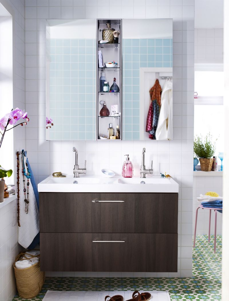 Superieur Stunning Bathroom Storage Ideas For Small Bathrooms Design: Elegant Small  Bathroom Design With Stunning IKEA Bathroom Mirror Storage Combination And  Green ...
