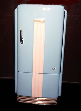 Vintage Ge Deluxe Refrigerator Painted In 1957 Chevy Larkspur Blue