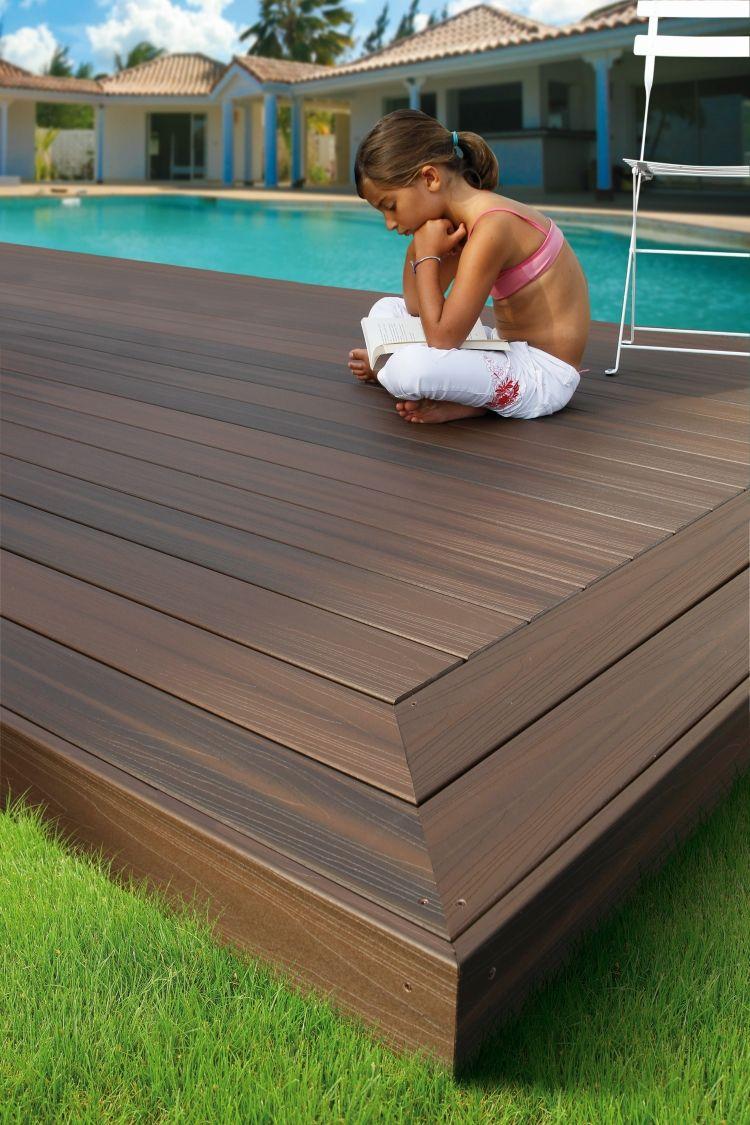 poolumrandung holz wpc dunkel eiche optik dunkelbraun kind rasen ideen pinterest. Black Bedroom Furniture Sets. Home Design Ideas