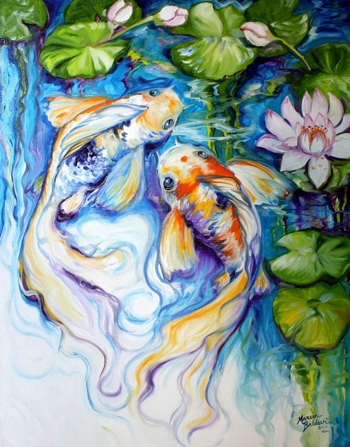 Koi koi lily by marcia baldwin framed prints koi and for Koi artwork on canvas