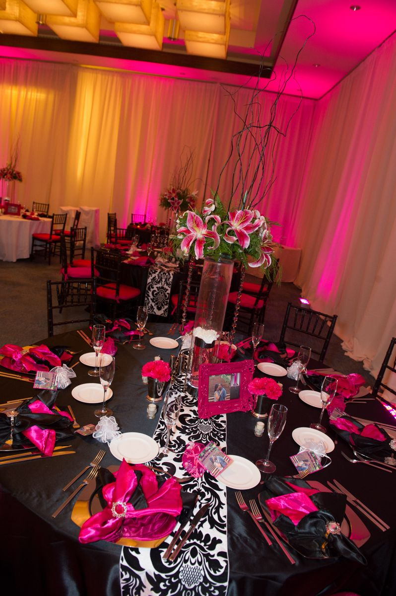Hot Pinkblack And White Wedding Reception Decor W Flower