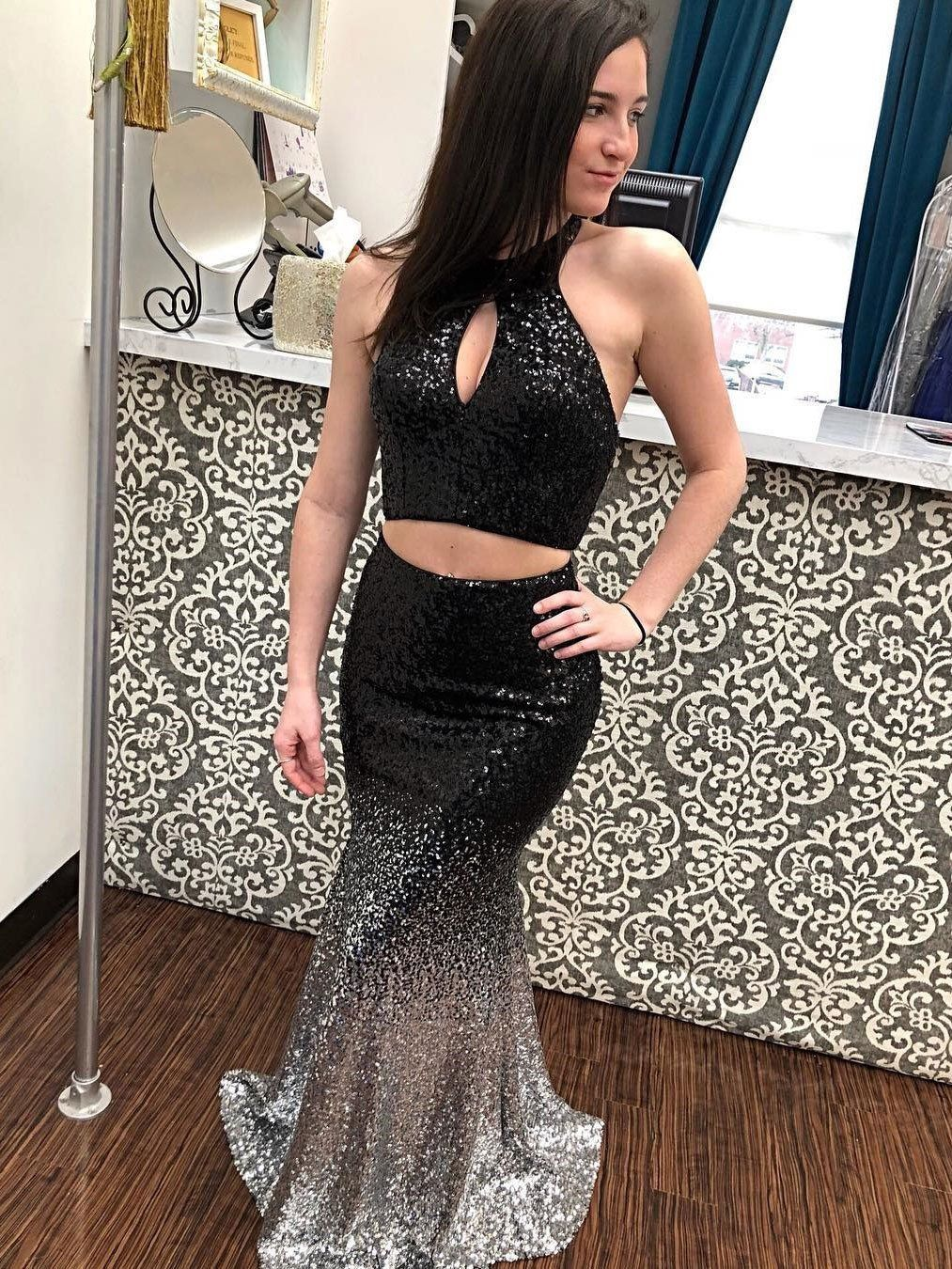 piece long black mermaid prom dresses halter ombre sequins sexy