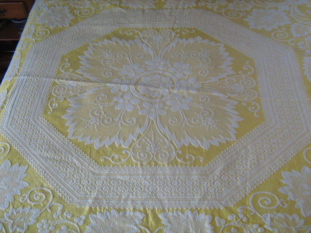 KING Trapunto Matelasse Bedspread Blanket Yellow White Grape Medallion Vintage #medallion