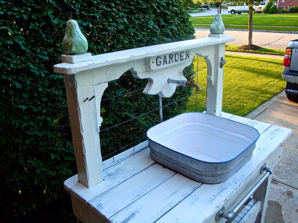 Galvanized tub garden sink with hand-carved pear posts | garden sink ...