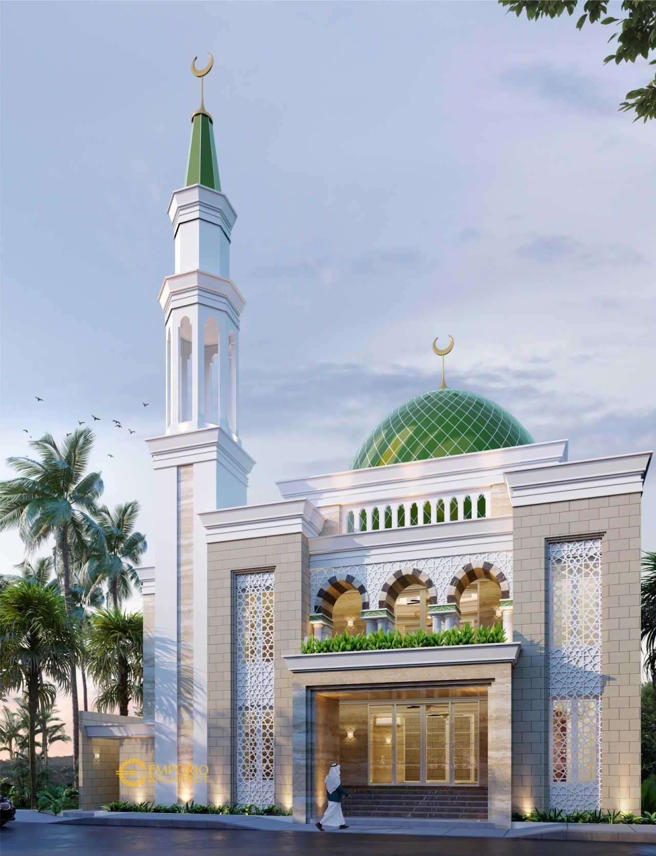 Desain Masjid Minimalis Modern 15x15 1 Lantai Termasuk Teras Sanggar Teknik