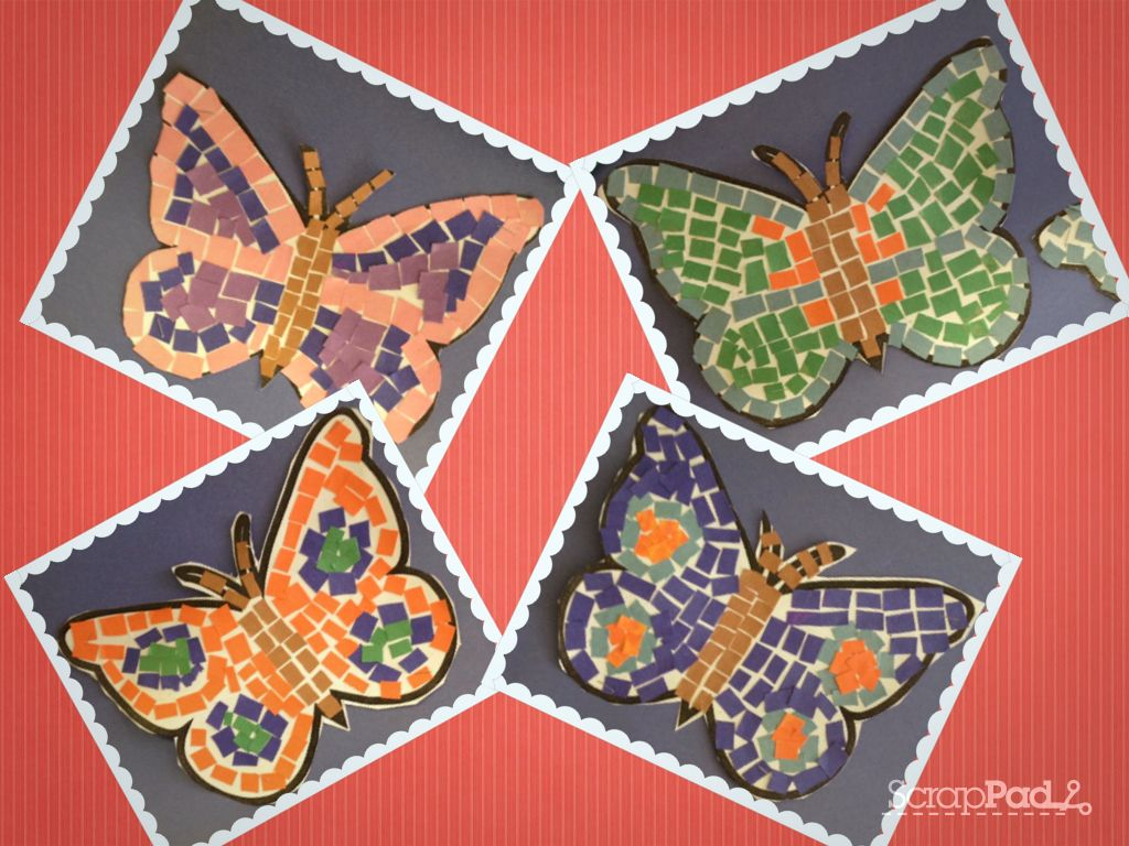 Tear fall colored construction paper into small pieces and glue - Cut Out Different Colour Of Construction Paper Into Small Squares Each Student Got A Template Of A Butterfly They Then Glued The Little Construction