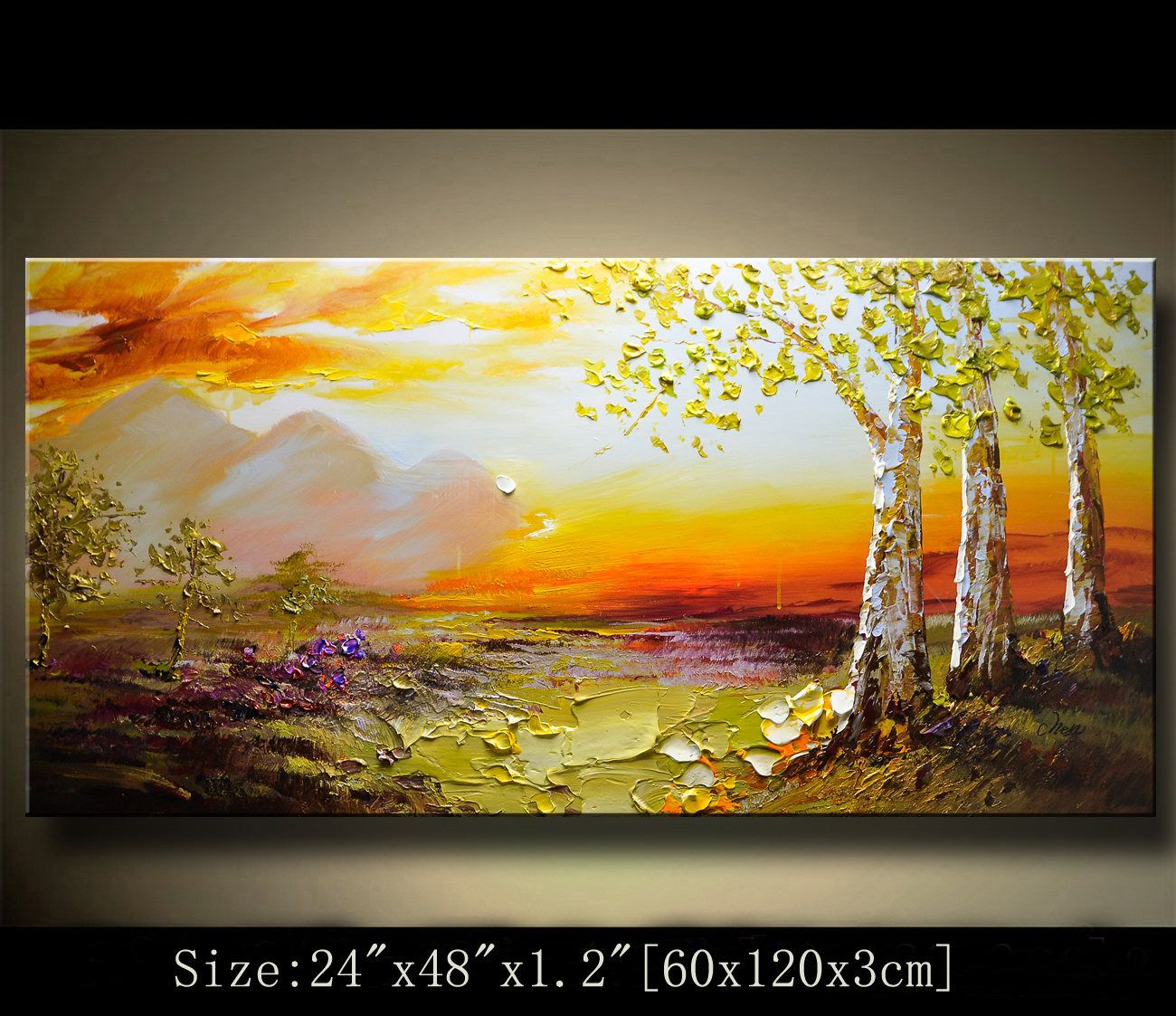 contemporary wall art,Palette Knife Painting,colorful Landscape ...