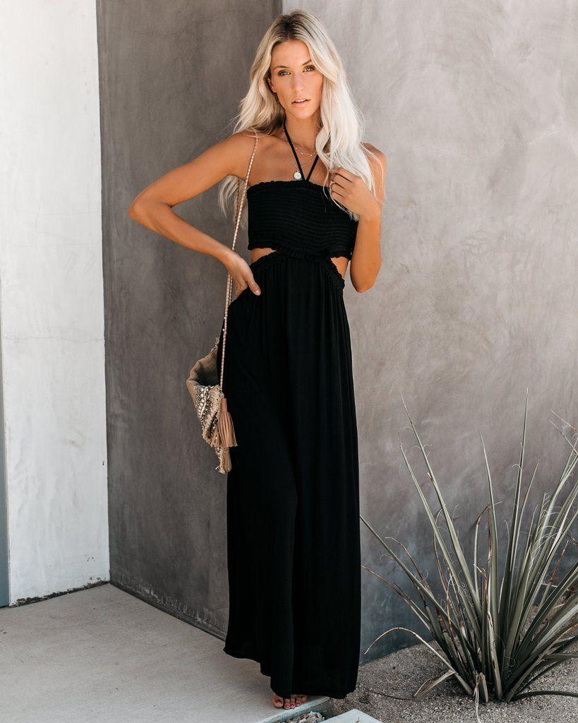 Hit the beach smocked halter maxi dress black halter