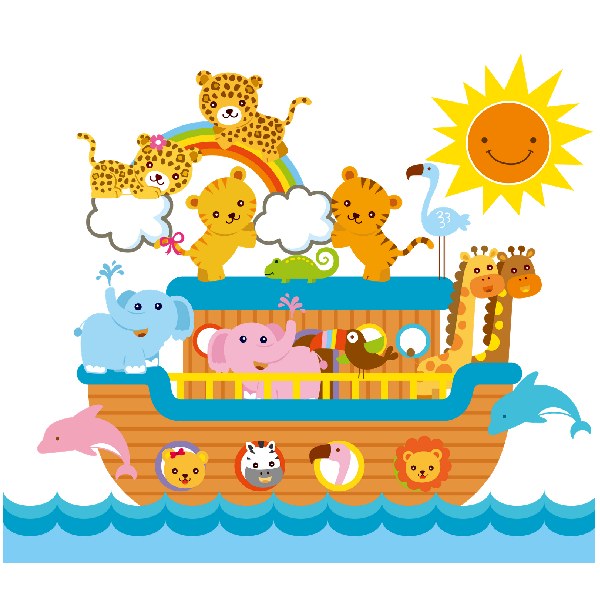 Noah's Ark Child's Nursery Pictures Are On Transparent Background ...