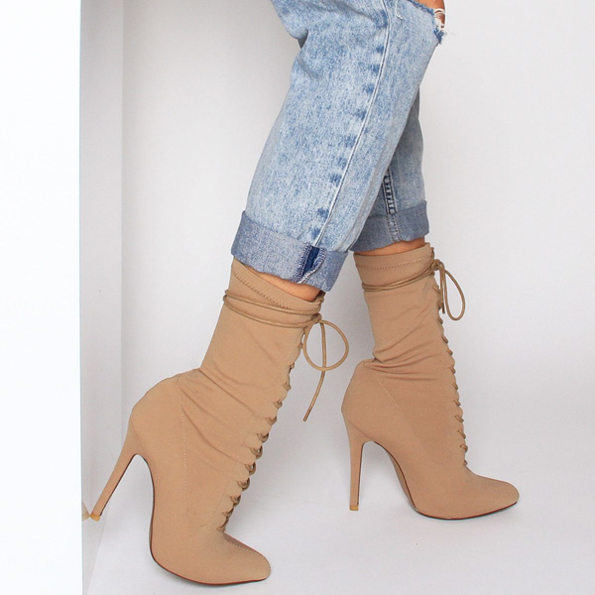 fbff1adeea Celia Nude Lycra Lace Up Pointed Ankle Boots in 2019 | Outfits ...