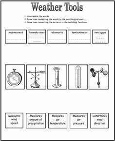 Weather Tools Worksheet...4th grade | Weather | Pinterest