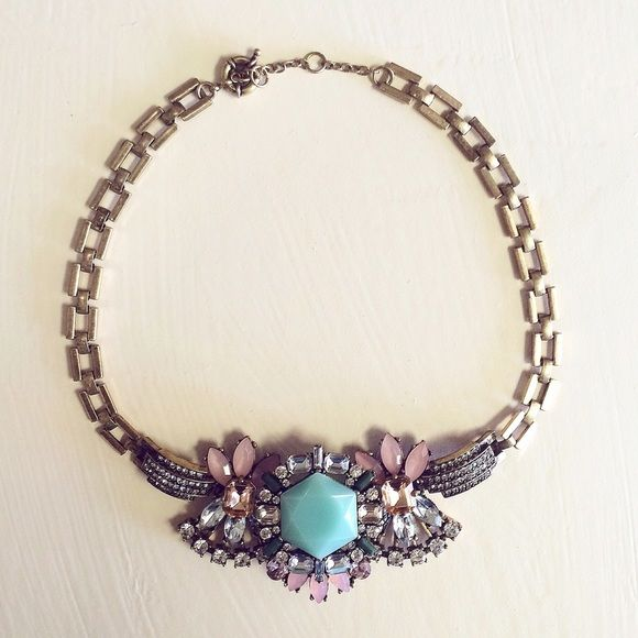 J.Crew statement necklace Pastel gems Jcrew necklace excellent condition.  J. Crew Jewelry Necklaces