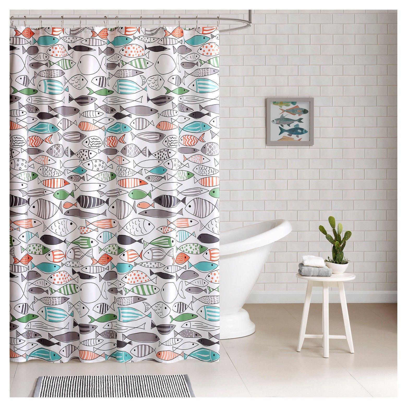 Fish Shower Curtain Green White Kids Shower Curtain Cotton