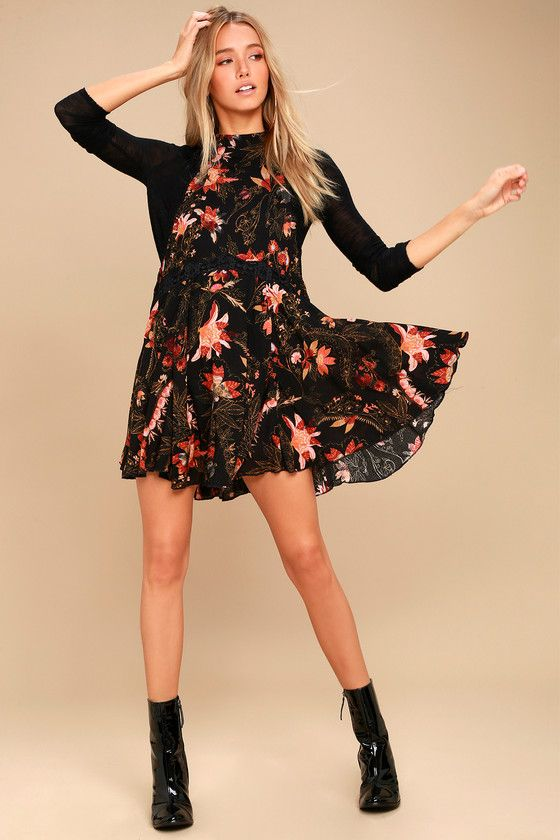 She Moves Black Floral Print Lace Slip Dress 2