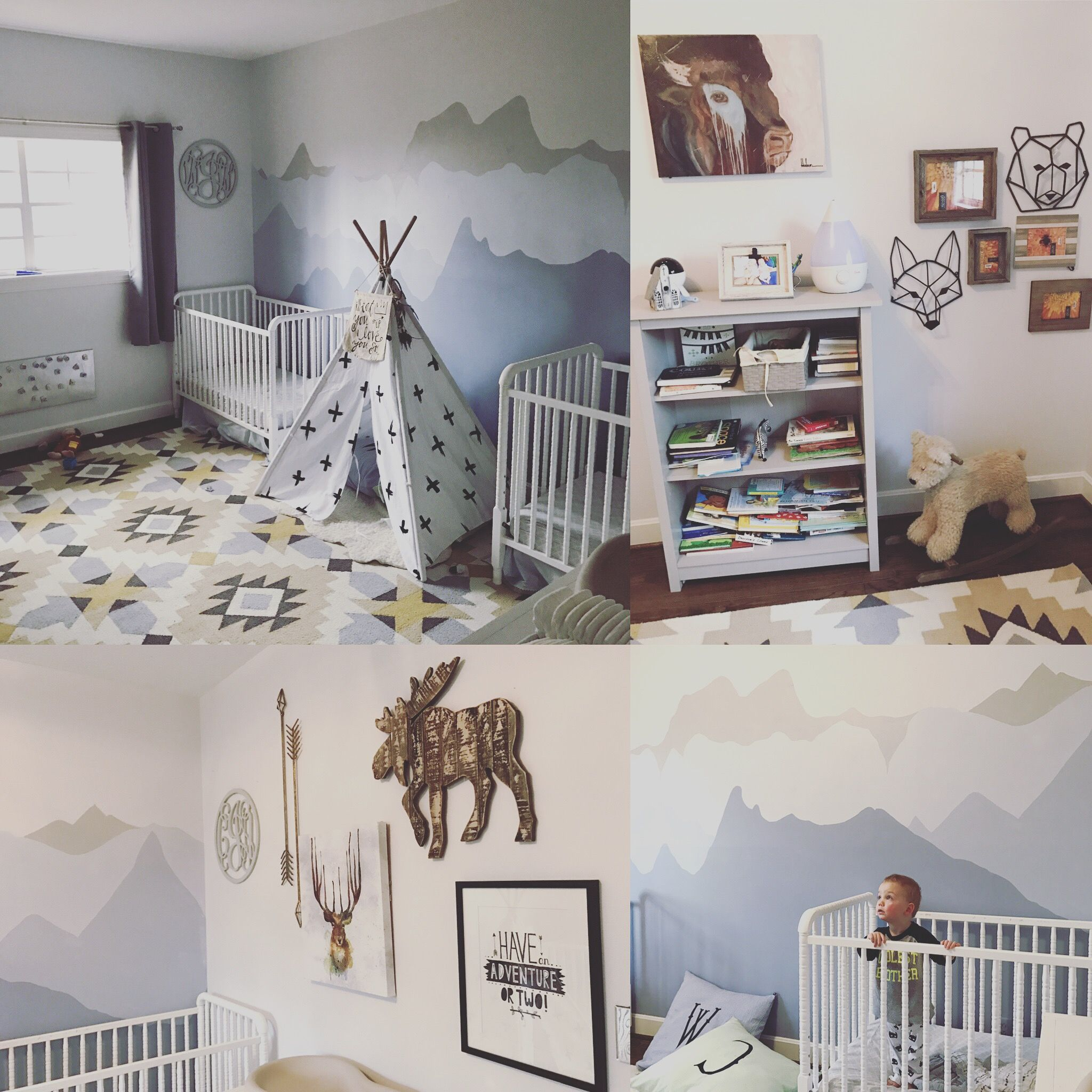 Baby Boy Bedroom Nursery Painted Mountains Out West Teepee