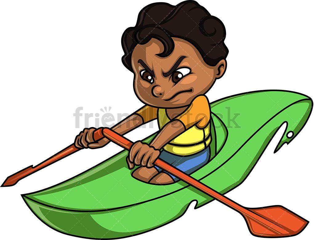 Little Boy Canoeing Cartoon Clipart Vector Friendlystock Cartoon Clip Art Little Boys Illustration