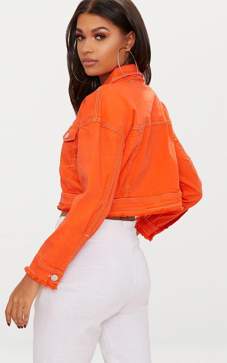 Bright Orange Cropped Denim Jacket Cropped Denim Jacket Cropped Denim Denim Jacket [ 1180 x 740 Pixel ]