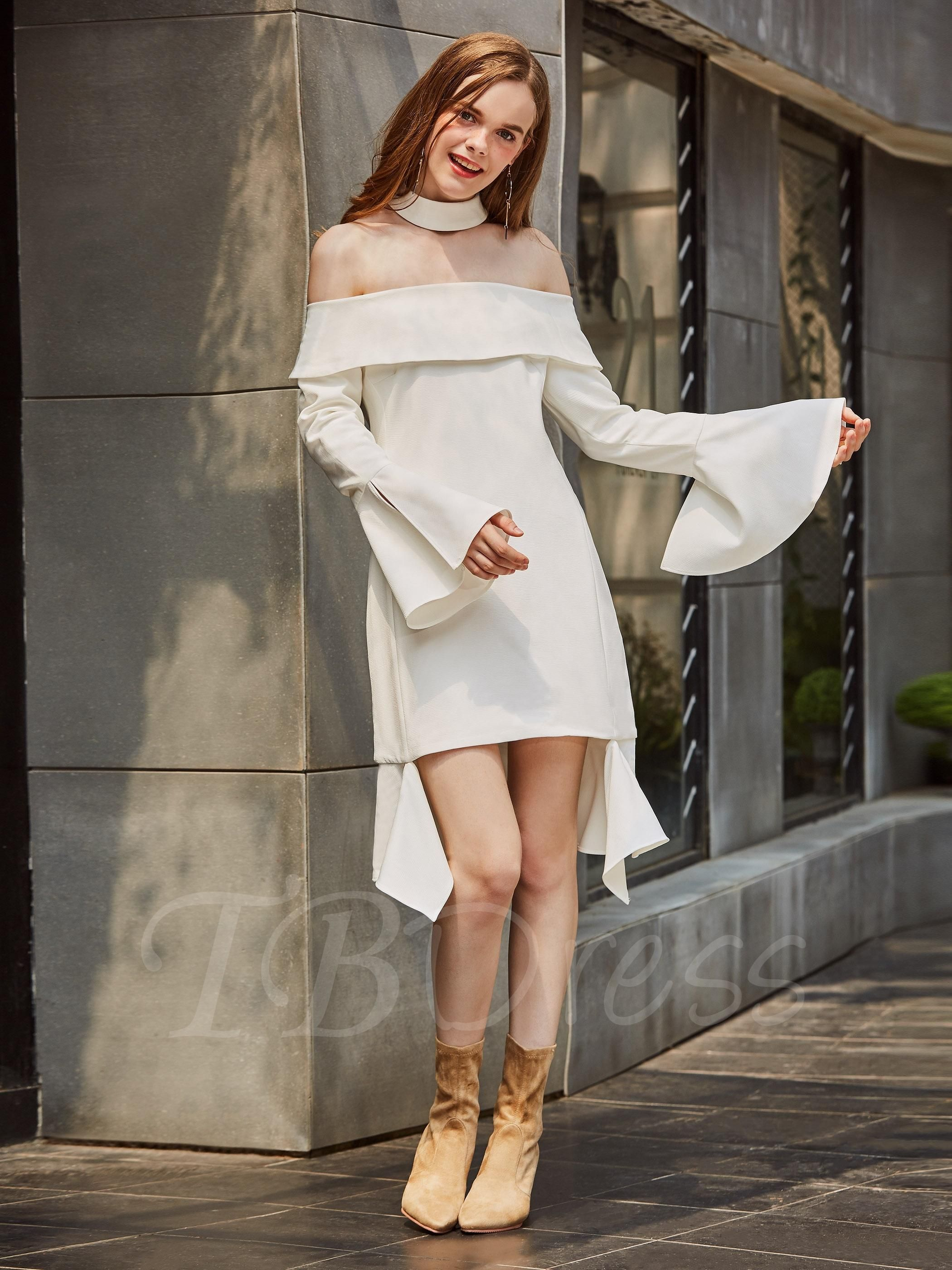White Slash Neck Bell Sleeve Womens Day Dress | Gowns