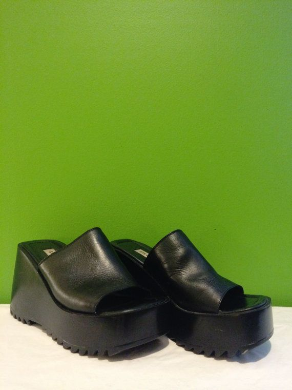 90's Platform Wedge Shoes / Club Kid Sky High Slip On Mules / Leather Steve  Madden